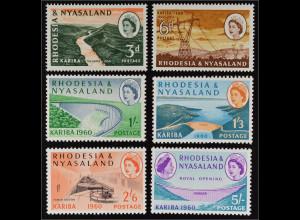 Rhodesien und Nyassaland 1960 Michel Nr. 34-39 Eröffnung Kariba Wasserkraftwerk
