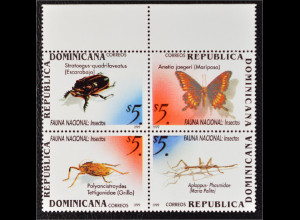 Dominikanische Republik 1999 Michel Nr. 1965-68 ZD Fauna Schmetterling Käfer