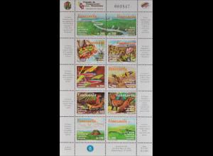 Venezuela 1998 Michel Nr. 3270-79 Klbg. Amazonas Vögel Fische Tiere Pflanzen