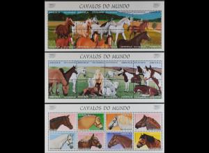 Cavalos do Mundo Angola 1997 drei Kleinbögen Pferde Mustang Araber Pinto