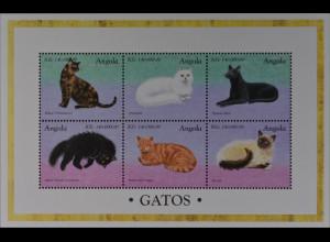 Katzenrassen Chinchilla Perser Angola 1998 Michel Nr. 1211-16 Klbg.