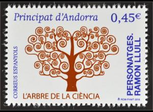 Andorra spanisch 2016 Michel Nr. 442 700. Todestag von Ramón Llull Baum Wissen