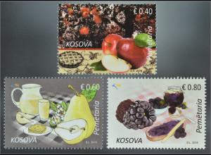 Kosovo 2016 Michel Nr. 353-55 Gastronomie Frühstück Brombeergelee Apfel