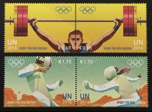Verei. Nationen UNO Wien 2016 Nr. 920-23 Sport für Frieden Gewichtheben Fechten