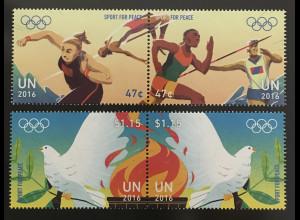Ver. Nationen UN UNO New York 2016 Nr. 1538-41 Sport für Frieden Taube Flamme