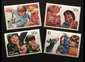 Australien Michel Nr. 1055-58 Kinder Motive Jungen mit Flusskrebs
