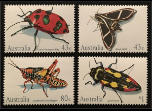 Briefmarkensatz aus Australien Insekten Tectocoris Cizara Petasida Castiarina