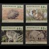 Briefmarkensatz Australien Gefährdete Tiere Kurzschnabeligel Haarnasenwombat