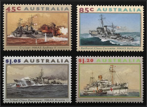 Briefmarkensatz Australien Kriegsschiffe Kreuzer HMAS Sydney II 1936