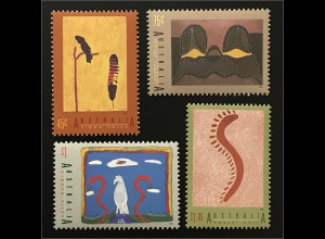 Briefmarkensatz Australien Jahr der Ureinwohner Gemälde Rabenkakadufeder