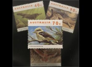 Briefmarken Australien Schnabeltier Graues Riesenkänguruh Inka-Kakadu Kookaburra