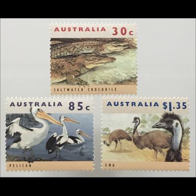 Briefmarken Australien Gefährdete Tiere Leistenkrokodil Brillenpelikan Emu