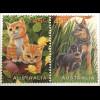 Australien Haustiere Hunde Katzen Ponys Kakadu Gans mit Küken Hund und Katze