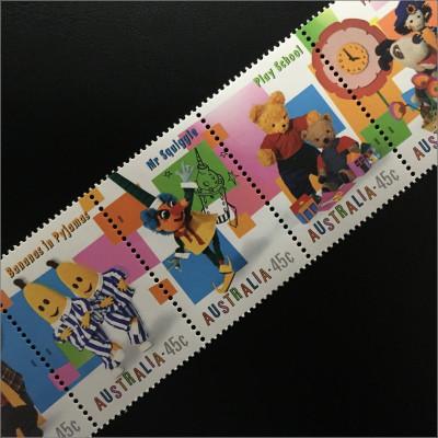 Briefmarkensatz Szene aus Here´s Humphrey Mr. Squiggle Szene aus Play School