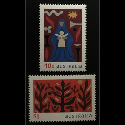 Australien Michel Nr. 1865-66 Weihnachten 1999 Hl. Maria mit Kind Lebensbaum