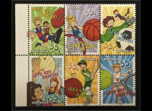 Australien 2009 Nr. 3287-92 Jugendsport Football Basketball Fußball Netball