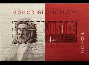 Australien 2003 Michel Nr. Block 49 100 Jahre Oberster Gerichtshof