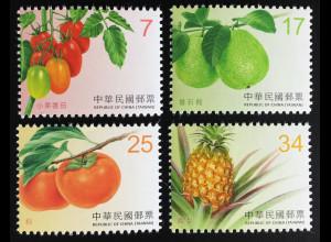 Taiwan Formosa 2016 Nr. 4086-89 Dauerserie Früchte Tomate Birne Ananas