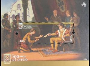 Portugal 2016 Block 403 500 Jahre Postwesen Postbeförderung zu Pferd mit Schiff