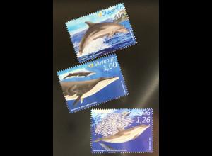 Slowenien Slovenia 2016 Nr. 1215-17 Faune Wale und Delfine Meeressäugetiere