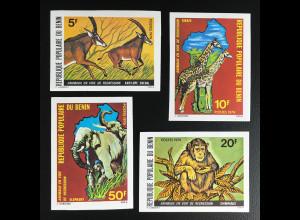 Benin 1979 Michel Nr. 191-94 B ungezähnt Seltene Tiere Afrikas Elefant Affe
