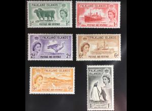 Falklandinseln 1955/57 Michel Nr. 117-22 Königin Elisabeth II Landesmotive