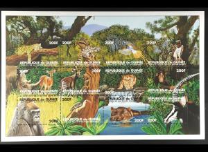 Guinea 1998 Michel Nr. 2030-41 Klbg. Tiere Gorilla Flusspferd Nashorn Löwe
