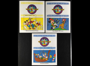Sierra Leone 1992 Block 189-91 Walt Disney Figuren auf Weltreise Micky Goofy