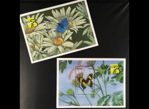 Ghana Block 375-76 Schmetterlinge Blauer Feuerfalter Jamaica Schwalbenschwanz
