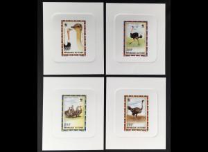 Tschad Michel Nr. 1370-73 De Luxe Blocks WWF Ausgabe Strauße