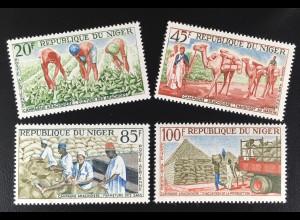 Niger 1963 Michel Nr. 53-56 Anbau der Erdnuß Dromedare Transport