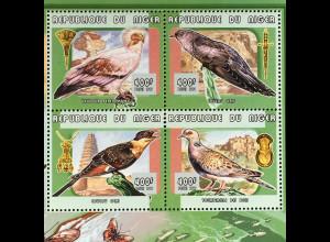 Niger 1999 Michel Nr. 1721-24 Klbg. Vögel und Kunsthandwerk
