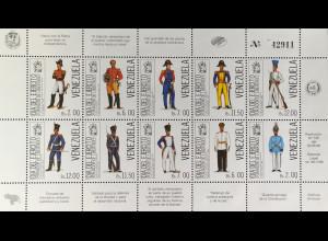 Venezuela 1988 Michel Nr. 2535-44 Klbg. Streitkräfte Uniformen