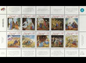 Venezuela 1999 Michel Nr 3383-92 Klbg. Weihnachten Geburt Christi