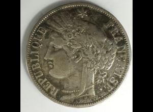 Frankreich 5 Francs 1870 Silbermünze s-ss Münze