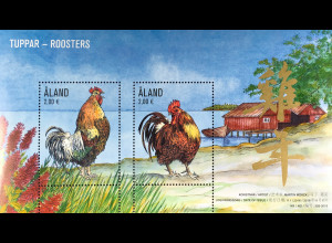 Aland 2016 Block 15 Chinesisches Horoskop Jahr des Hahns Year of the Rooster
