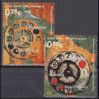 Montenegro 2007, Michel Nr. 151-52 **, 100 Jahre innerörtlicher Telefonverkehr