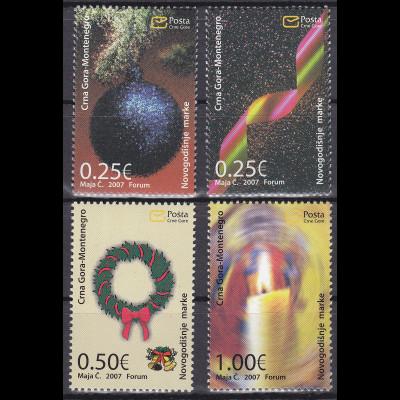 Montenegro 2007 Michel Nr. 153-56 Weihnachten und Neujahr