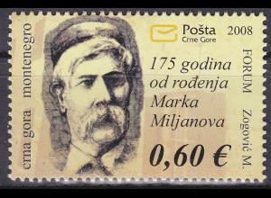 Montenegro 2008, Michel Nr. 170 **, 175. Geburtstag von Marko Miljanov