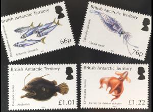 Britische Antarktis BAT 2016 Nr. 725-28 Der Ozean in Zonen unterteilt Fische