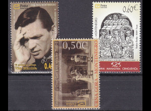 Montenegro 2009, Michel Nr. 199-201 **, Kunst durch die Jahrhunderte (II)