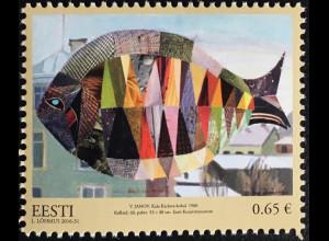 Estland EESTI 2016 Nr. 876 Kunst Fisch über Karlova Gemäldecollage Valve Janov