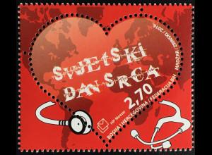 Bosnien Herzegowina Kroatische Post Mostar 2016 Neuheit Welt Herztag Herz