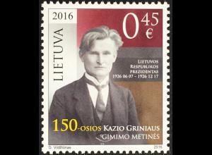 Litauen Lithuania 2016 Michel Nr. 1226 150. Geburtstag von Kazys Grinius Politik