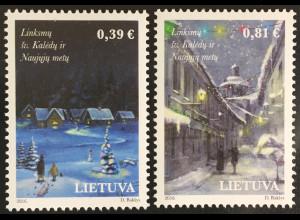 Litauen Lithuania 2016 Michel Nr. 1232-33 Weihnachtsausgabe Verschneites Dorf