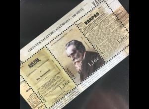 Litauen Lithuania 2016 Block 53 100. Jahrestag Wiederherstellung Unabhängigkeit