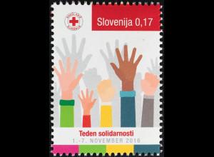 Slowenien Slovenia 2016 Nr. 80 Zwangszuschlagsmarke Hände Rotes Kreuz