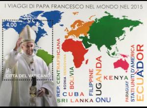 Vatikan Cittá del Vaticano 2016 Block 52 Weltpastoralreisen von Papst Franziskus