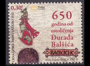 Montenegro 2012, Mi.-Nr. 292**, 650. J. der Thronbesteigung von Fürst Djuradj I.
