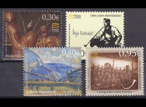 Montenegro 2012, Michel Nr. 287-90 **, Kunst durch die Jahrhunderte (V)